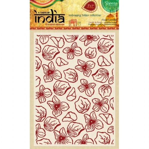 Sheena Douglass A Taste of India 5x7 Embossing Folder - Floral Confetti